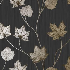 Holden Decor Maple Leaf Smooth Metallic Black Wallpaper