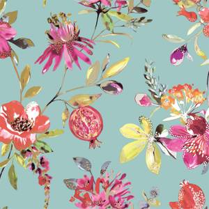 Holden Decor Punica Floral Smooth Metallic Soft Teal Wallpaper