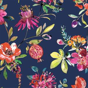 Holden Decor Punica Floral Smooth Metallic Navy Wallpaper