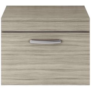 Balterley Rio 600mm Wall Hung Single Drawer Vanity With Worktop - Driftwood