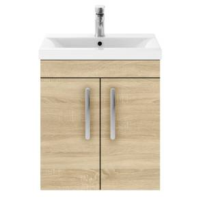 Balterley Rio 500mm Wall Hung 2 Door Vanity With Basin 1 - Natural Oak