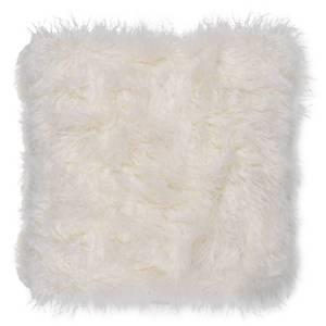 Faux Mongolian Fur Cushion - White