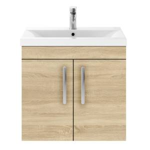Balterley Rio 600mm Wall Hung 2 Door Vanity With Basin 1 - Natural Oak