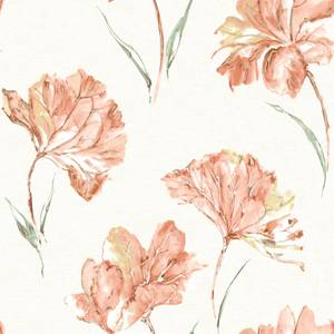 Holden Decor Azalea Floral Smooth Metallic Orange Wallpaper