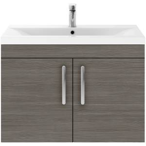 Balterley Rio 800mm Wall Hung 2 Door Vanity With Worktop - Grey Avola