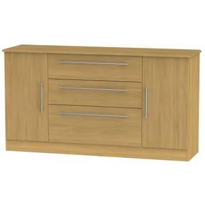 Siena Wide 2 Door 3 Drawer Sideboard - Modern Oak