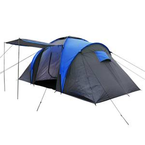 Charles Bentley 4 Person Camping Tunnel Tent With Awning - Grey