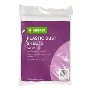 Homebase Plastic Dust Sheet 4pk