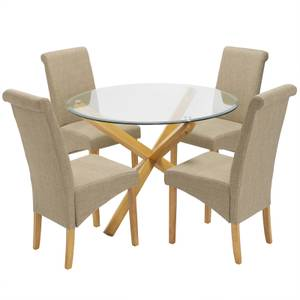 Oporto 4 Seater Dining Set - Amelia Dining Chairs - Beige