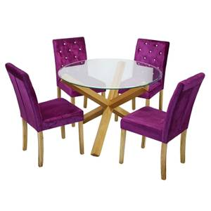 Oporto 4 Seater Dining Set - Paris Dining Chairs - Purple