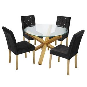 Oporto 4 Seater Dining Set - Paris Dining Chairs - Black
