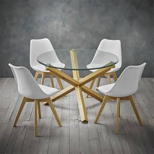 Oporto 4 Seater Dining Set - Louvre Dining Chairs - White