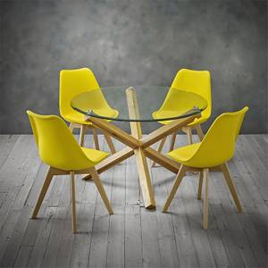 Oporto 4 Seater Dining Set - Louvre Dining Chairs - Yellow