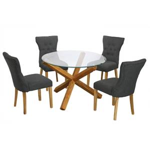 Oporto 4 Seater Dining Set - Naples Dining Chairs - Grey