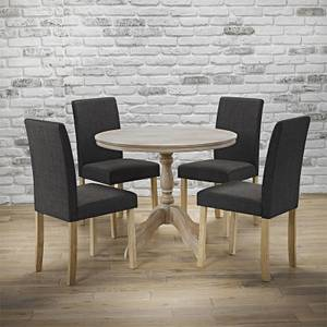 Provence 4 Seater Dining Set - Melodie Dining Chairs - Charcoal