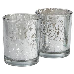 Set of 2 Tealight Candle Holder - Silver Mercury