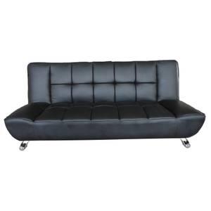 Vogue Sofa Bed - Black - Faux Leather