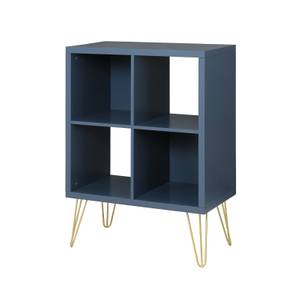 2x2 Cube Storage Unit - Orion Blue with Gold Metal Legs