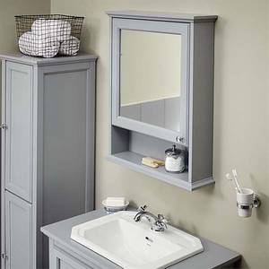 Bathstore Savoy Mirror Wall Cabinet - Gun Metal Grey