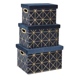Set of 3 Crushed Velvet Boxes - Navy