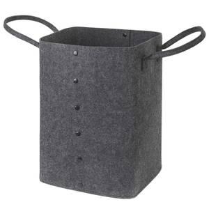 Button Up Felt Storage Basket  - Dark Grey