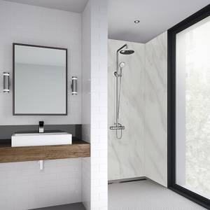 Wetwall 1200mm square edge laminate - cararra marble