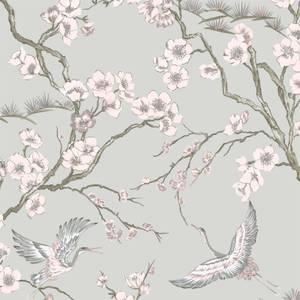Sublime Japan Grey & Pink Wallpaper
