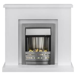 Adam Lomond in White with Helios Electric Fire in Brushed Steel