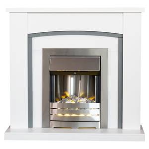 Adam Chilton in White & Grey with Helios Electric Fire in Brushed Steel