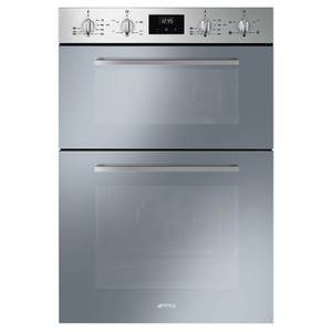 Smeg DOSF400S 60cm Cucina Stainless Steel and Silver Glass Double Multifunction Oven