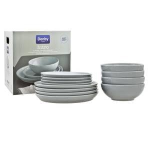 Denby Intro 12 Piece Tableware Set - Soft Grey