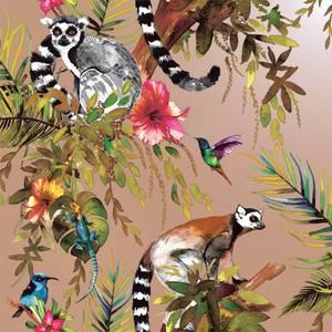Holden Decor Lemur Jungle Smooth Metallic Rose Gold Wallpaper