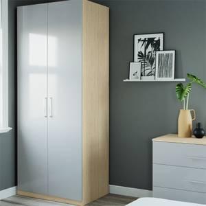Modular Bedroom Slab Double Wardrobe - Grey