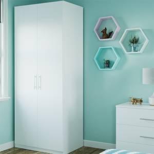Modular Bedroom Slab Double Wardrobe - White