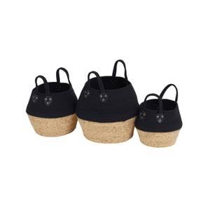 Black Rope Baskets - Set of 3