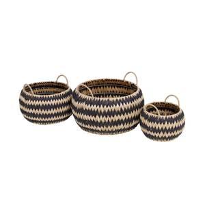 Black Round Flatweave Baskets - Set of 3