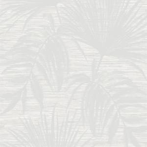 Holden Decor Bambara Leaf Textured Metallic White Wallpaper