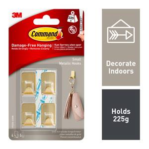 Command Small Metallic Hook - Gold Colour - 4 Hooks, 5 Strips