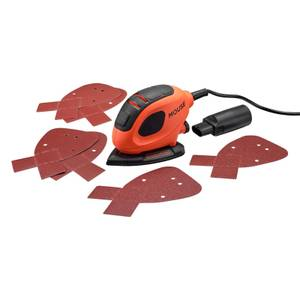 BLACK+DECKER 55W Corded Detail Mouse Sander with 6x Sanding Sheets (BEW230-GB)