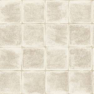 Holden Decor Furano Tile Textured Metallic Cream Wallpaper