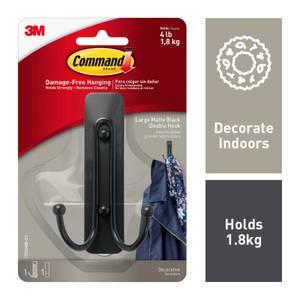 Command Large Matte Black Double Hook