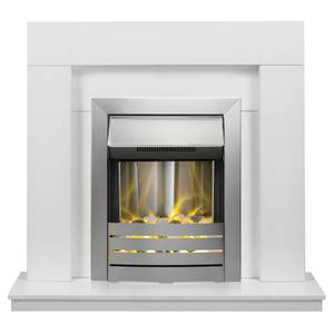 Adam Malmo in White & Black with Helios Electric Fire in Brushed Steel