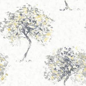 Holden Decor Beacon Fell Tree Smooth Metallic Yellow and Grey Wallpaper