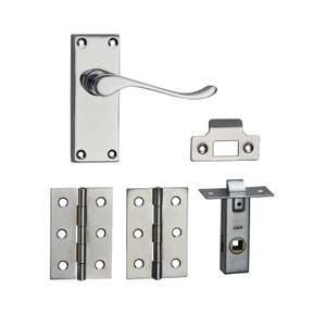 Homebuild Victorian Scroll Short Backplate Internal Door Pack - Polished Chrome