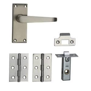 Homebuild Victorian Straight Short Backplate Internal Door Pack - Brushed Nickel