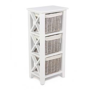 Bude 3 Wicker Baskets Cabinet