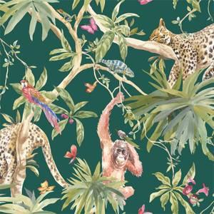 Holden Decor Jungle Animals Smooth Metallic Green Background Wallpaper