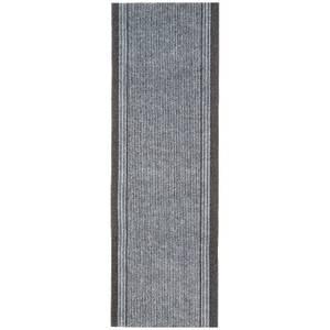 Striped Border Runner - Grey