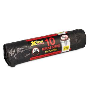 Bin Liners with Tie Handles - 100L - 10 Pack - Black