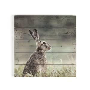 Hare Print On Wood Wall Art